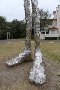 Sculpture of Feet, Legs in a park in Austin