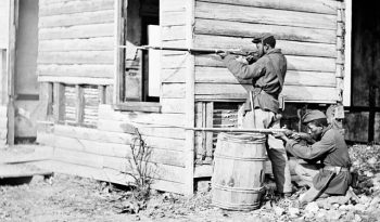 Soldiers from a United States Colored Troops unit on picket duty at Dutch Gap