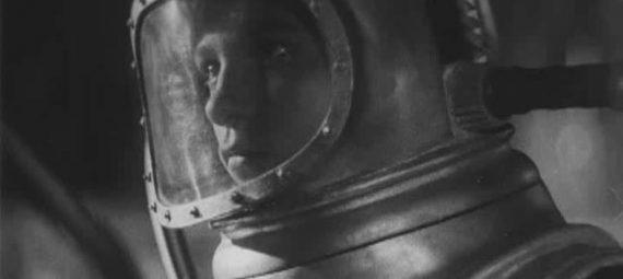 Ksenia Moskalenko as a cosmonaut in the sci-fi film Cosmic Voyage (1936)