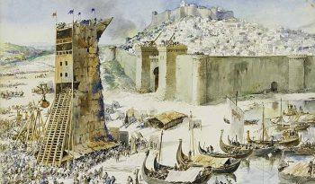 Depiction of the siege of Lisbon, 1147