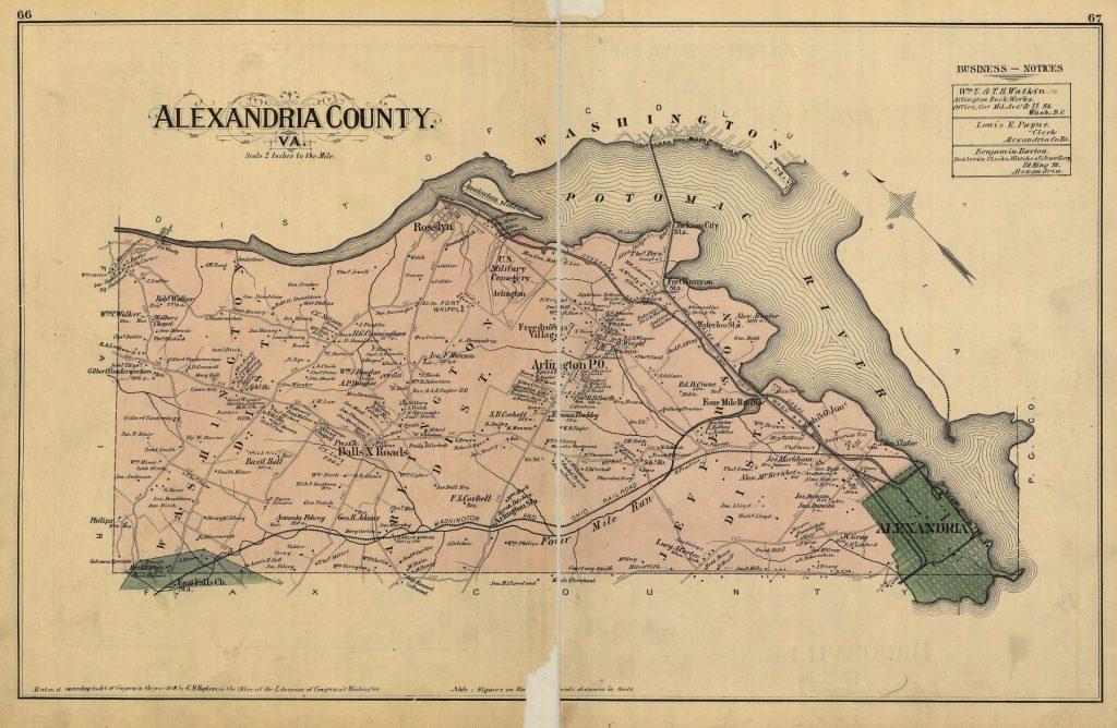 Map of Alexandria County (1878), including what is now Arlington County and the City of Alexandria. Map includes the names of property owners at that time. City boundaries roughly correspond with Old Town.